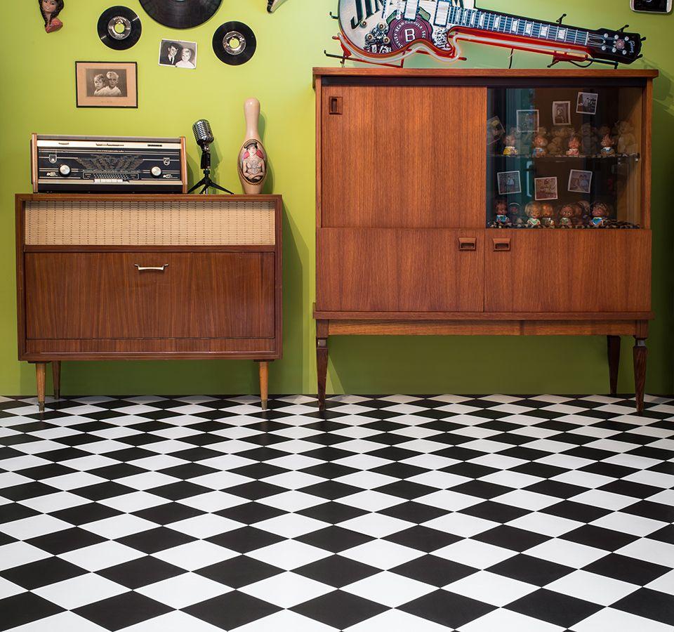 Comfort Vinyl svart/vit ruta